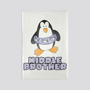Middle Brother Penguin Rectangle Magnet
