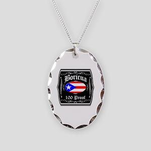 Boricua 100 Proof Necklace Oval Charm