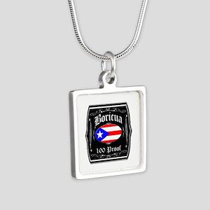 Boricua 100 Proof Silver Square Necklace