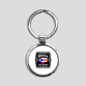 Boricua 100 Proof Round Keychain