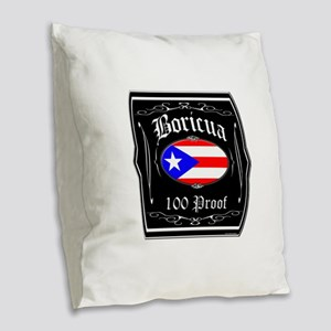 Boricua 100 Proof Burlap Throw Pillow