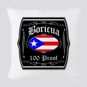 Boricua 100 Proof Woven Throw Pillow