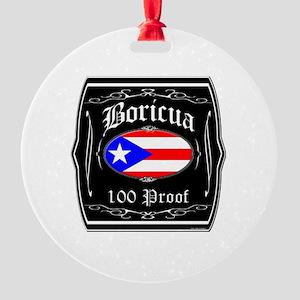 Boricua 100 Proof Round Ornament