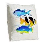 3 Damselfish Burlap Throw Pillow