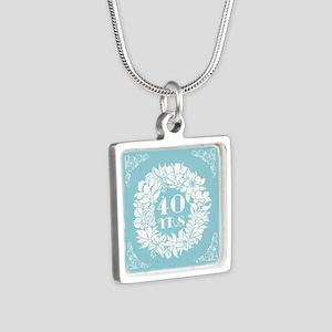 40th Anniversary Wreath Silver Square Necklace