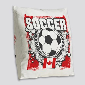 Canada Soccer Burlap Throw Pillow