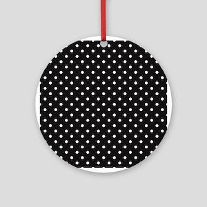Black and white Polka Dots Ornament (Round)