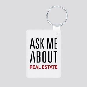 Ask Me About Real Estate Aluminum Photo Keychain