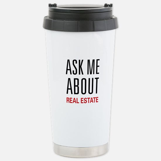Ask Me About Real Estate Stainless Steel Travel Mu