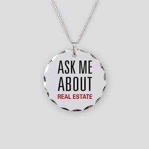 Ask Me About Real Estate Necklace Circle Charm