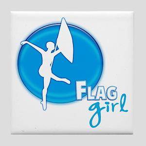 Flag Girl Tile Coaster