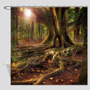 Fairy Forest Tree House Shower Curtain