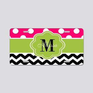 Pink Green Chevron Personalized Aluminum License P