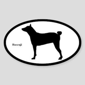 Basenji Silhouette Oval Sticker