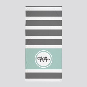 Gray and Mint Stripes Custom Monogram Beach Towel