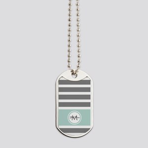 Gray and Mint Stripes Custom Monogram Dog Tags