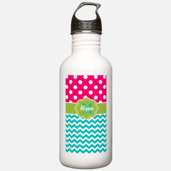 Pink Green Teal Chevron Personalized Water Bottle