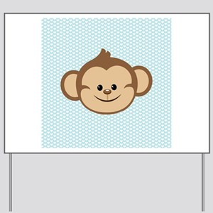 Cute Monkey on Blue and White Hearts Yard Sign