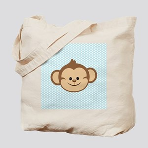 Cute Monkey on Blue and White Hearts Tote Bag