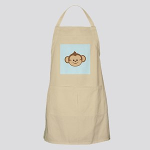Cute Monkey on Blue and White Hearts Apron
