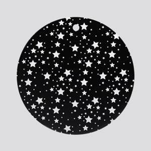 Black and White Stars Ornament (Round)