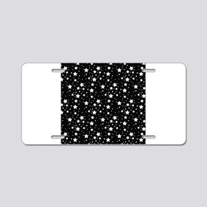 Black and White Stars Aluminum License Plate