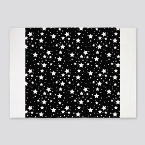 Black and White Stars 5'x7'Area Rug