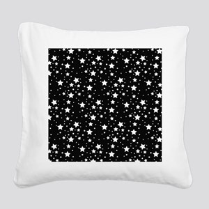 Black and White Stars Square Canvas Pillow