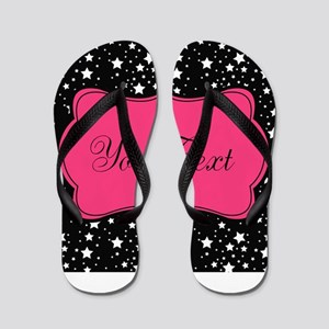 Personalizable Pink and Black Stars Flip Flops