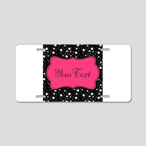 Personalizable Pink and Black Stars Aluminum Licen