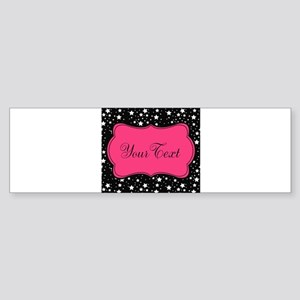 Personalizable Pink and Black Stars Bumper Sticker
