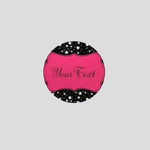 Personalizable Pink and Black Stars Mini Button
