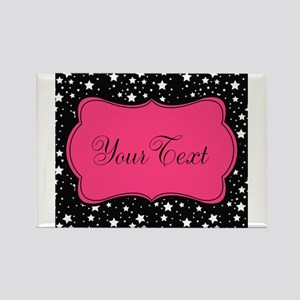 Personalizable Pink and Black Stars Magnets