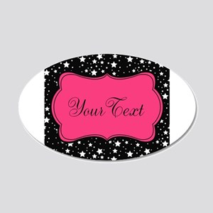 Personalizable Pink and Black Stars Wall Decal