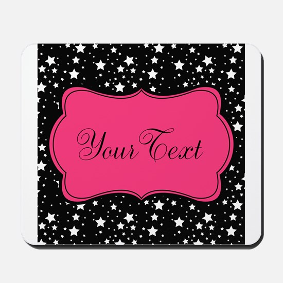 Personalizable Pink and Black Stars Mousepad