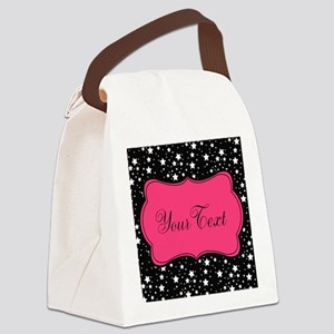Personalizable Pink and Black Stars Canvas Lunch B