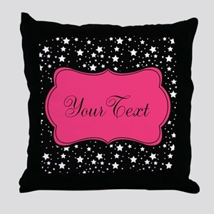 Personalizable Pink and Black Stars Throw Pillow