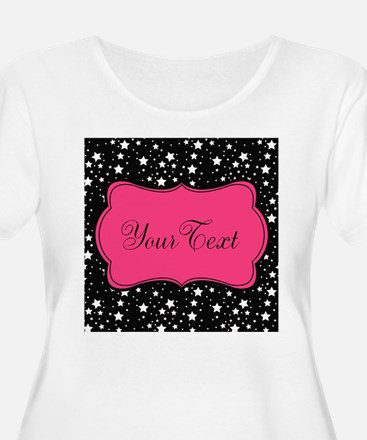 Personalizable Pink and Black Stars Plus Size T-Sh