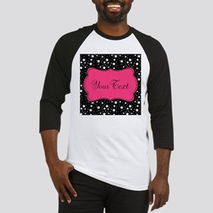 Personalizable Pink and Black Stars Baseball Jerse