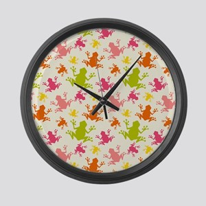 Cute Colorful Frogs Pattern Large Wall Clock