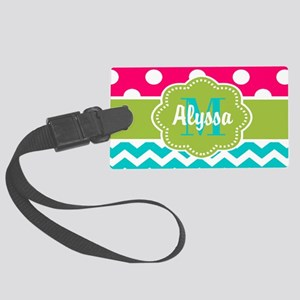 Pink Green Teal Chevron Personalized Luggage Tag