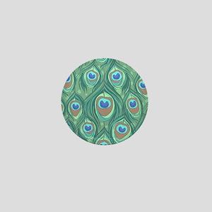 Peacock Feathers Mini Button