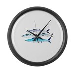 4 Atlantic Mackerels Large Wall Clock