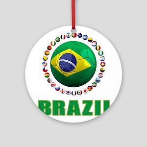 Brazil Soccer 2014 Ornament (Round)
