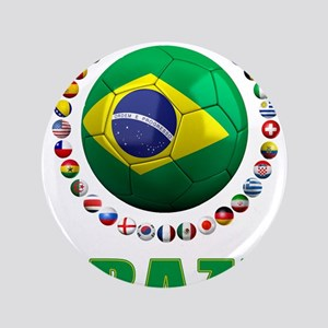 "Brazil Soccer 2014 3.5"" Button"