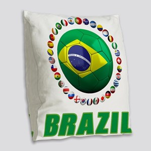 Brazil Soccer 2014 Burlap Throw Pillow