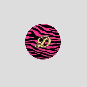 HOT PINK ZEBRA GOLD D Mini Button