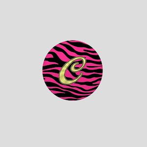 HOT PINK ZEBRA GOLD C Mini Button