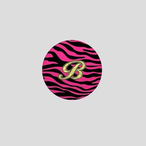HOT PINK ZEBRA GOLD B Mini Button