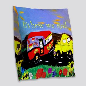 Vintage Camper and Truck Burlap Throw Pillow